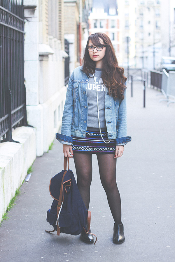 Fashion blog, Look Indiana: boots en cuir Monoprix, jupe Navajo Asos, Veste Levi's Homme, collier perles H&M, sac à dos River Island - Dollyjessy blog Lifestyle