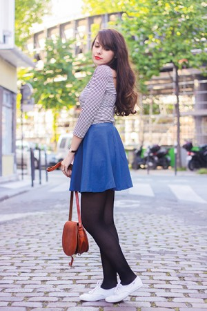 Blog mode Dollyjessy: denim skater skirt and orange lips