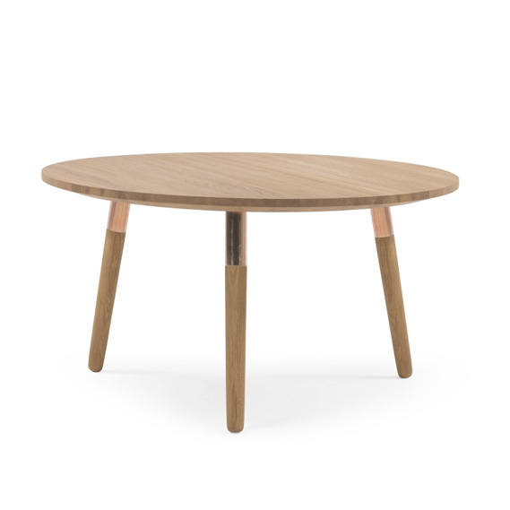 Table basse ronde bois clair et cuivre Made