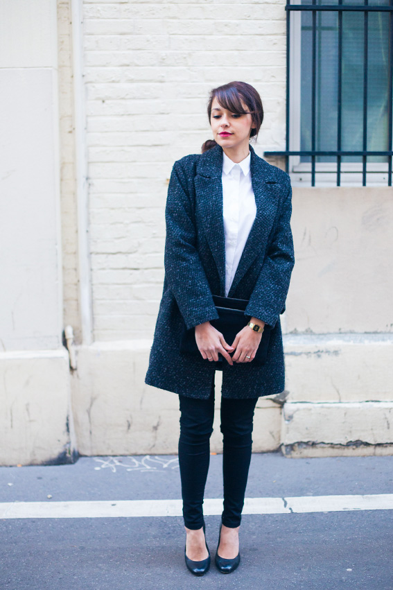 French fashion blogger lifestyle - classic chic style Blog mode lifestyle dollyjessy manteau masculin mango , chemise boyfriend Asos, skinny Primark, pochette noire en daim Asos, chignon chic, escarpins noirs.
