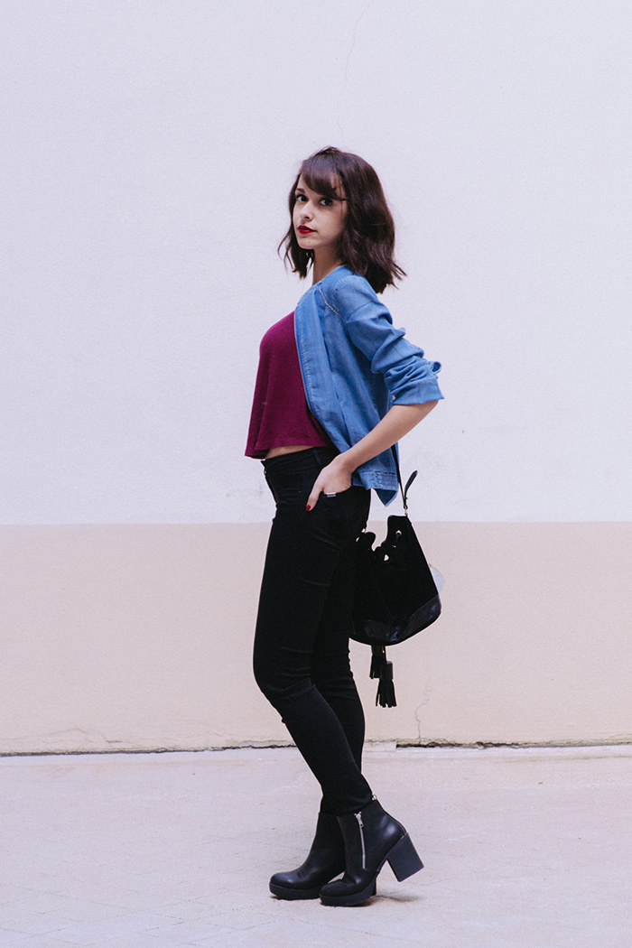 Blogueuse mode Paris influenceuse Dollyjessy look comment porter le bomber en jean - Slim noir Salsa Bomber en jean grain de malice
