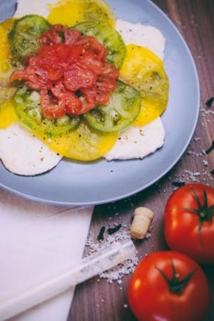 Tomate Mozzarella: tomates ananas, coeur de boeuf, green zebrée