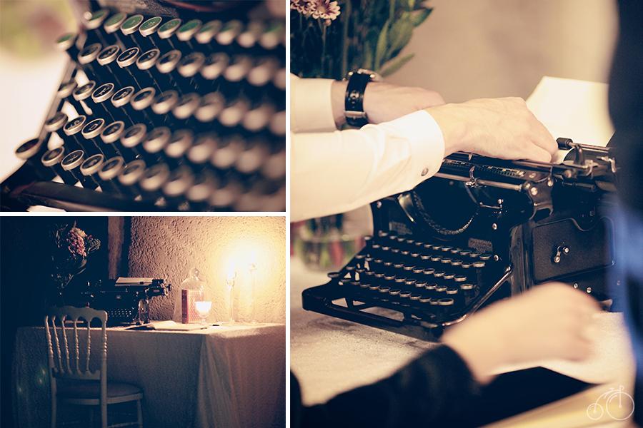 Idées et conseils pour un mariage original, machine à écrire vintage en guise de livre d'or