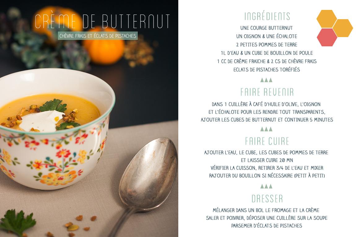 Recette crème, velouté de butternut, crème fraiche et chèvre frais et éclats de pistache.