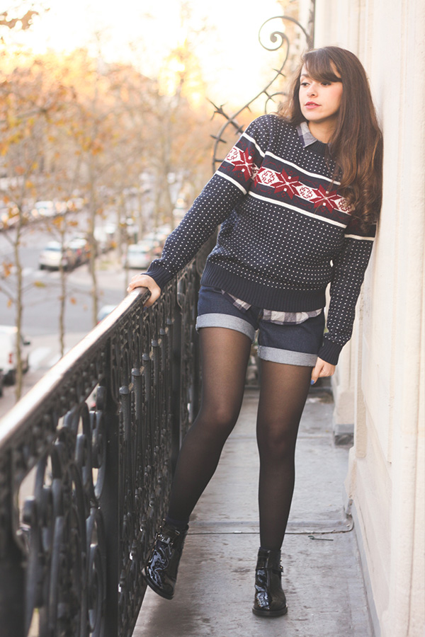 Look hivernal: Pull Jacquard, short vintage Levi's, boots vernies Asos - blog mode Dollyjessy