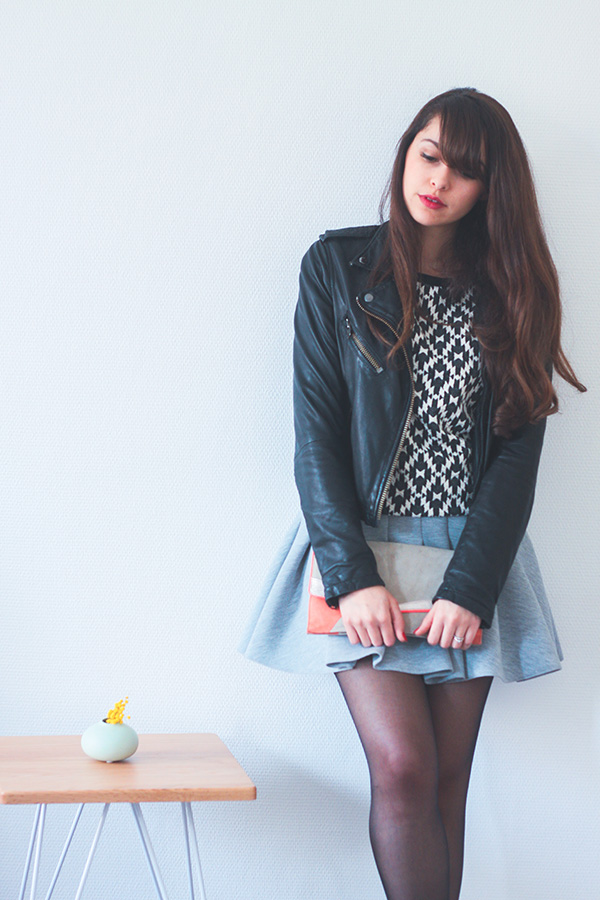 Dollyjessy blog mode Lifestyle - Jupe Neoprene H&M, perfecto cuir Topshop, ballerines andré, top 1.2.3