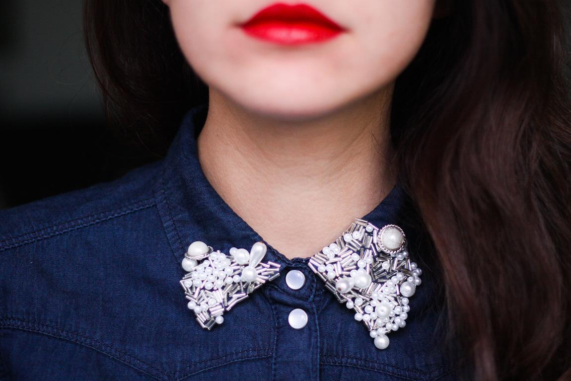 DIY - col de chemise perlé. Blog lifestyle mode Dollyjessy