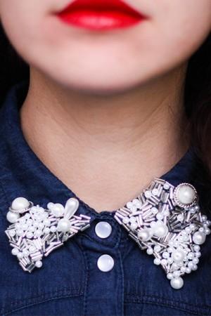 DIY col de chemises perles
