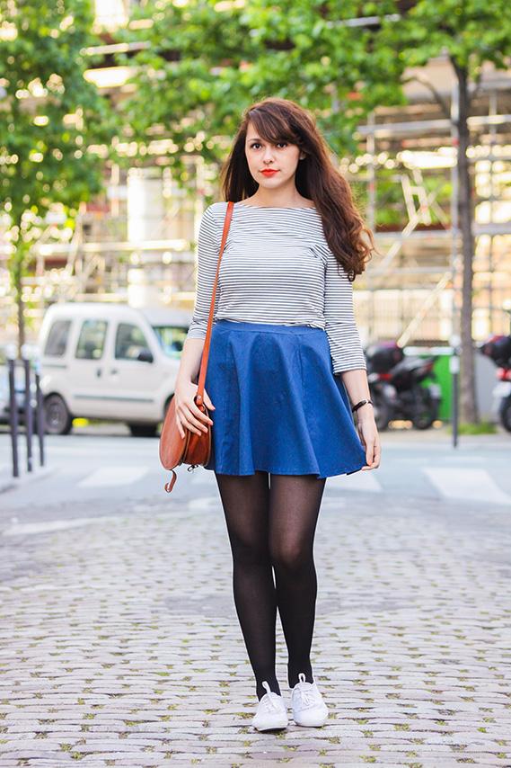 Blog mode Dollyjessy: denim skater skirt and orange lips