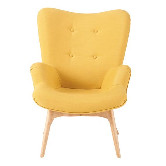 Fauteuil jaune design scandinave, maison du monde