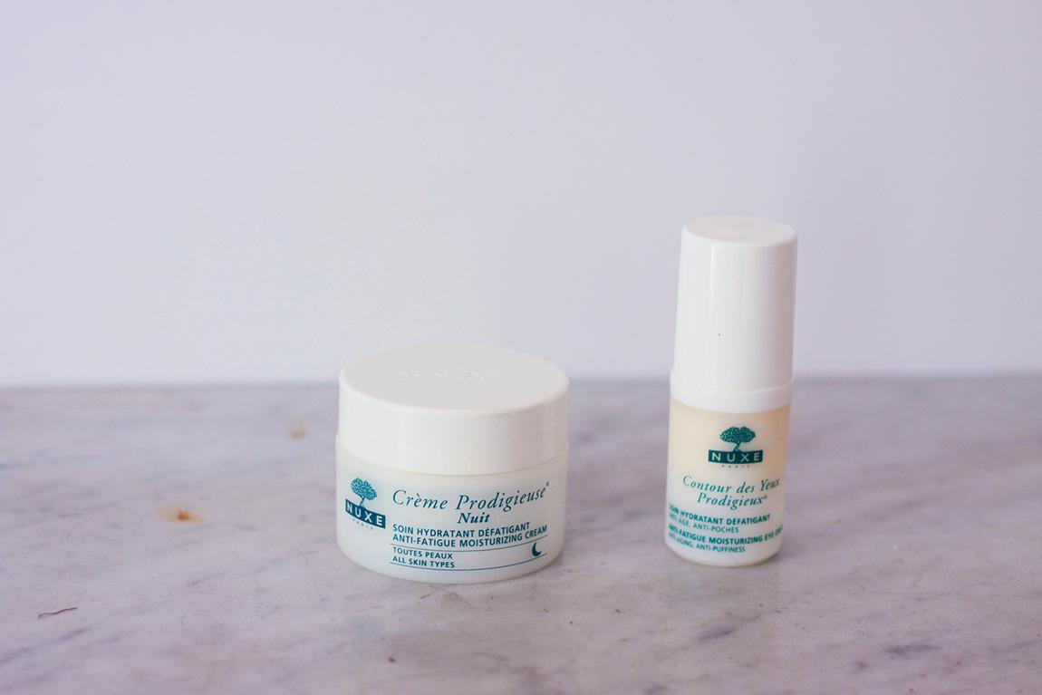 Crème de nuit prodigieuse hydratante et défatiguante et contour prodigieux hydratant, anti âge anti poche