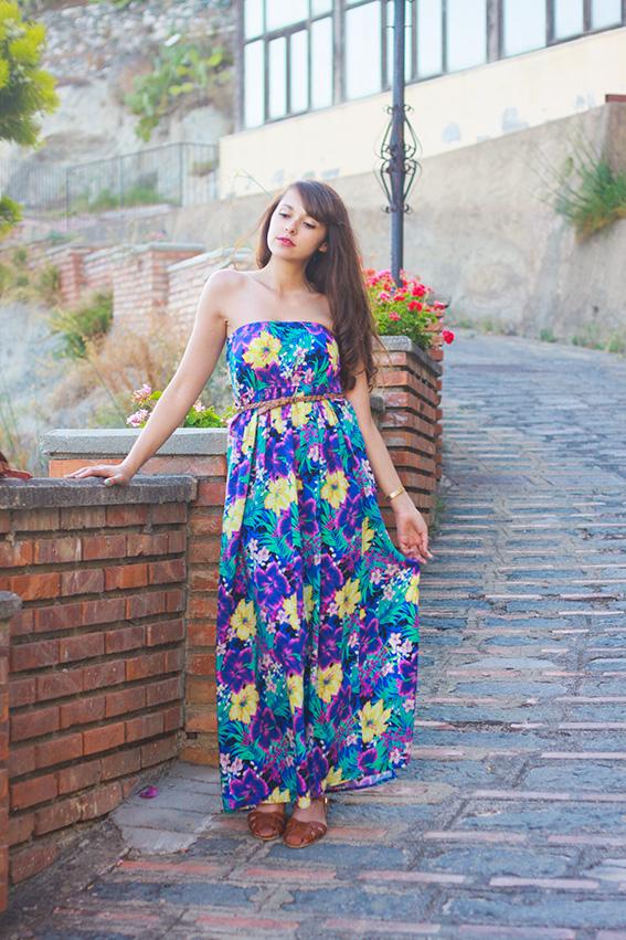 Look tropical, par Dollyjessy - blog mode et lifestyle - Robe Primark, chaussures Jonak, Sac vintage Emmaüs