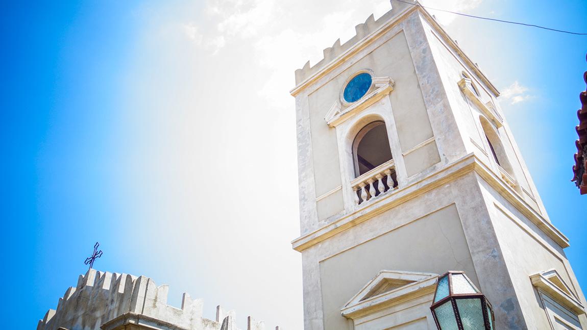 Eglise de Savoca, village de Sicille. Tournage de la scène du mariage dans le film Le Parrain.