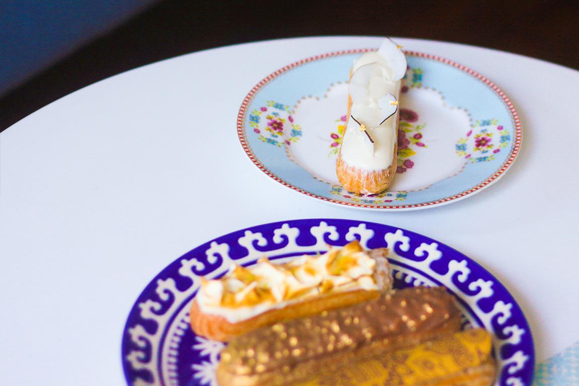 Eclairs fauchon Eclair week:  éclair citron meringué, éclair Ayudhaya crémeux à la noix de coco, éclair Henné du Maroc au café et cardamonne