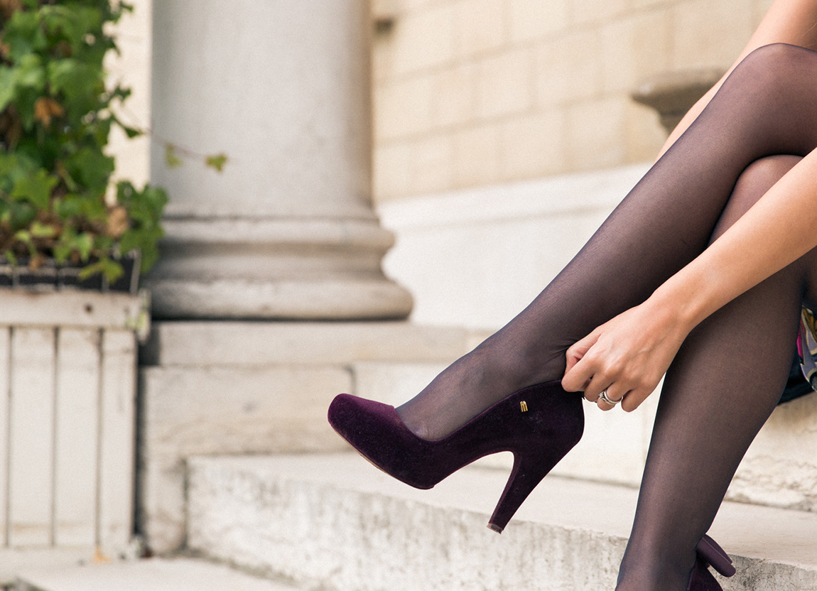 Blog mode look glamour robe crayon - shooting serres d'Auteuil Chaussures Melissa