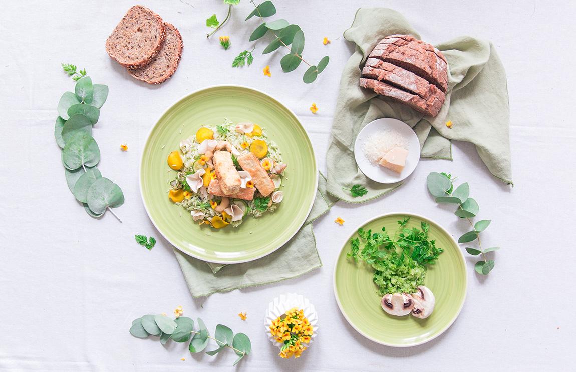 Recette à base de riz basmati, de poulet, de légumes, fleurs comestibles, végétarien avec Tofu - recette Taureau ailé blog cuisine français