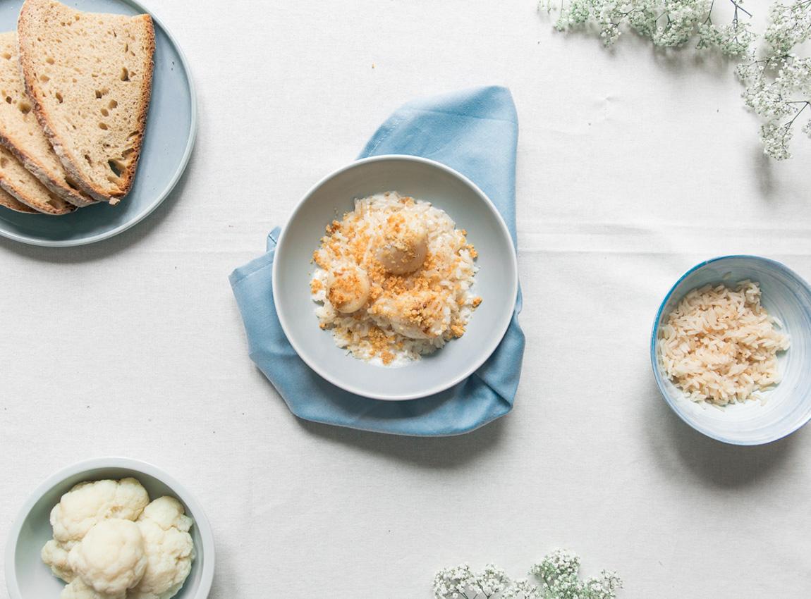 Riz_thai_recette_Noix_saint_jacques_crumble_parmesan