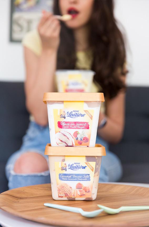 Nouvelles Glaces La Laitière nouveauté été 2016 - Glace Yaourt Fruits rouges , crème brulée, Caramel beurre salé - blog mode lifestyle - photographie professionnelle