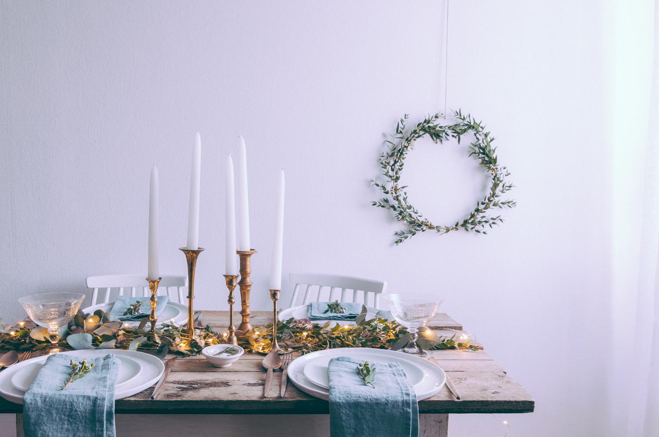 Idées décoration table de Noël 2016 2017 - style rustique scandinave - assiettes Merci - Shooting Inspiration dressage table de fêtes ou mariage scandinave - blog lifestyle dollyjessy