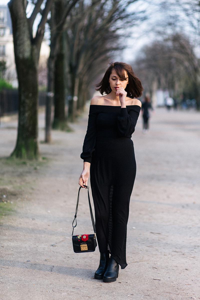 Sac Furla sur Zalando blogueuse mode Paris dollyjessy - Comment s'habiller tout en noir - tenue sexy noire - Où acheter un beau sac sur Internet ?